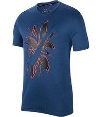 camiseta de hombre m nk run ss fiesta floral nike azul