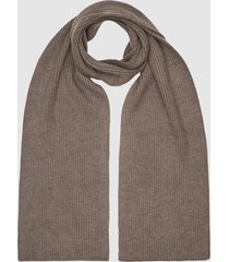 reiss rafferty - ribbed knitted scarf in taupe, mens
