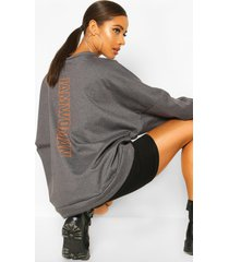 premium oversized back print sweater, charcoal