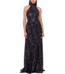 betsy & adam foil-print halter-neck gown