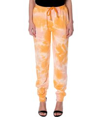 kappa women's authentic cassia tie-dye joggers - orange pink - size xs