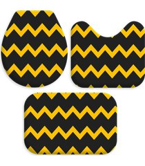 kit 3 tapetes decorativos para banheiro wevans abstrato preto e amarelo - preto - dafiti