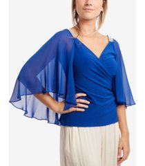 msk chiffon-cape embellished-shoulder top