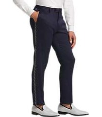 paisley & gray slim fit formal pants navy diamond