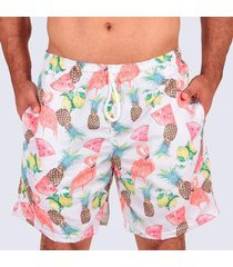 short praia slim flamingo masculino