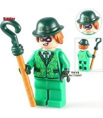 1 pcs riddler in green suit dc super hero minifigure building blocks bricks toys