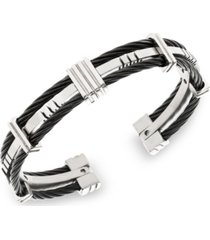 sutton stainless steel and black cable bangle bracelet
