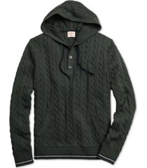 brooks brothers men's red fleece cable-knit hooded henley sweater