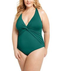 bleu by rod beattie trendy plus size plunging halter one-piece swimsuit women's swimsuit