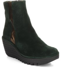 women's fly london yulu wedge bootie, size 10-10.5us - green