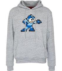 'nintendo' textured cyborg patch hoodie
