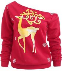 one shoulder deer print tee