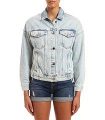 women's mavi linda bleached denim trucker jacket, size small - blue