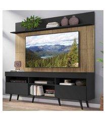 """rack com painel tv 65"""" madri multimóveis preto/rustic com prateleira e pés retrô preto"""