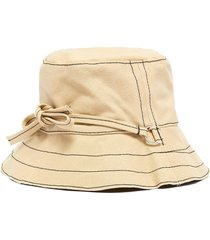 contrast stitch ribbon tie canvas bucket hat