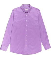 camisa casual manga larga unicolor slim fit para hombres 97561