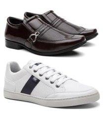 kit sapato social verniz masculino + sapatênis leve casual café/branco 44