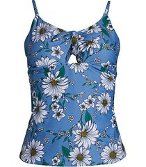 floral tie-front tankini top