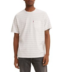 men's levi's men's relaxed fit stripe pocket t-shirt, size xx-large r - white