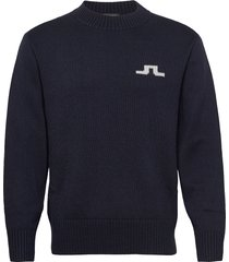 beckert-wool coolmax gebreide trui met ronde kraag blauw j. lindeberg
