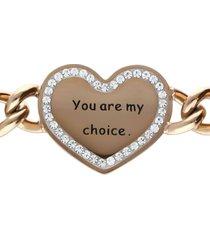 bracciale a maglie larghe in acciaio rosato you are my choice con strass per donna