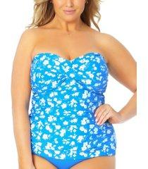anne cole plus size twist-front shirred tankini top women's swimsuit