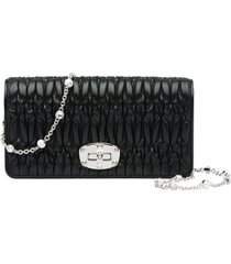 women's miu miu matelasse leather wallet on a chain -