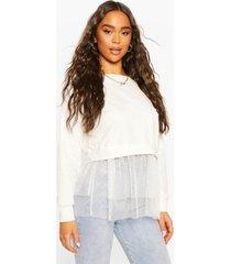 dobby mesh frill 2-in-1 sweat top, white