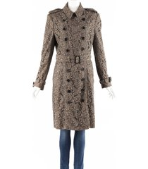 burberry brown lace cotton belted double breasted trench coat brown sz: l