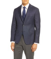 men's big & tall hickey freeman traveler classic fit hopsack wool blazer, size 50 long - blue