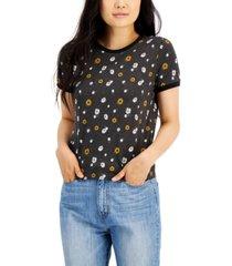 self esteem floral-print ringer short-sleeve graphic top