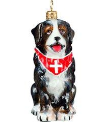 joy to the world bernese mt dog with swiss cross bandana