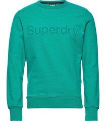 core logo faux suede crew ub sweat-shirt tröja grön superdry