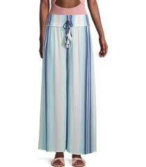 surf gypsy women's stripe wide-leg pants - maldives - size m