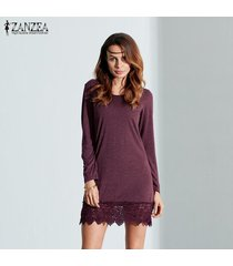zanzea mujer mini manga larga de algodón elástico camisa elástica tops de vestir blusa claret -púrpura