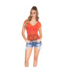 sexy shirt met strass steentjes koraal-kleurig