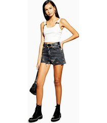 denim mom shorts with rips - washed black