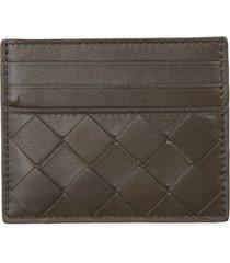 bottega veneta intrecciato leather card case - coral