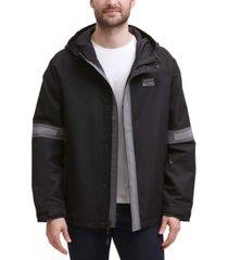 dkny men's tech regular-fit colorblocked hooded rain jacket