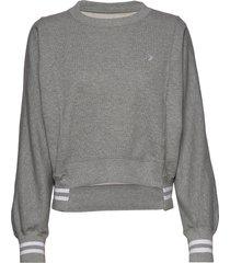 womens asymmetrical rib crew blk sweat-shirt tröja grå converse
