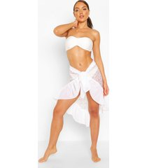 lace ruffle tie beach sarong, white