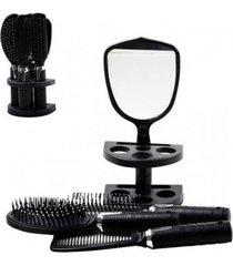 kit 5 peças penteadeira cabelo escova pente espelho suporte