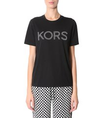michael michael kors printed logo t-shirt with studs