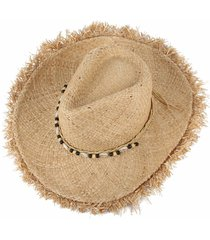 vintage raffia straw hats floppy wide large sun fringe shells beads beach ghs
