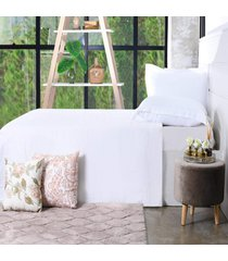 jogo de cama 200 fios solteiro 100% algodão penteado extra macio branco - bene casa