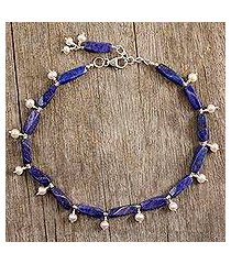 pearl and lapis lazuli anklet, 'midnight blue' (india)