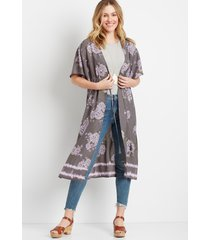 maurices womens gray floral duster kimono