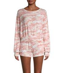 tart women's 2-piece camo print sweatshirt & shorts loungewear set - blush camo - size l