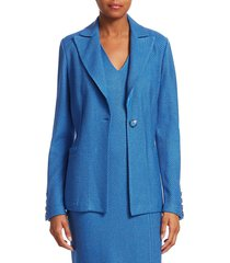 st. john women's sarga twill knit blazer - blue - size 2