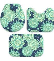 kit 3 tapetes decorativos para banheiro wevans abstrato turquesa